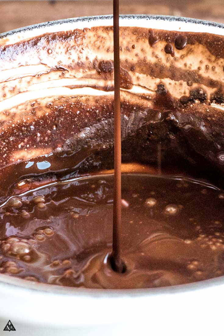 Chocolate syrup in a pan