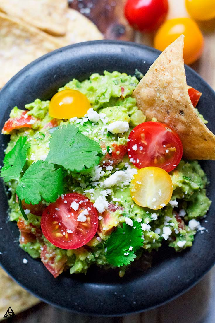 Closer look of guacamole in a bowl