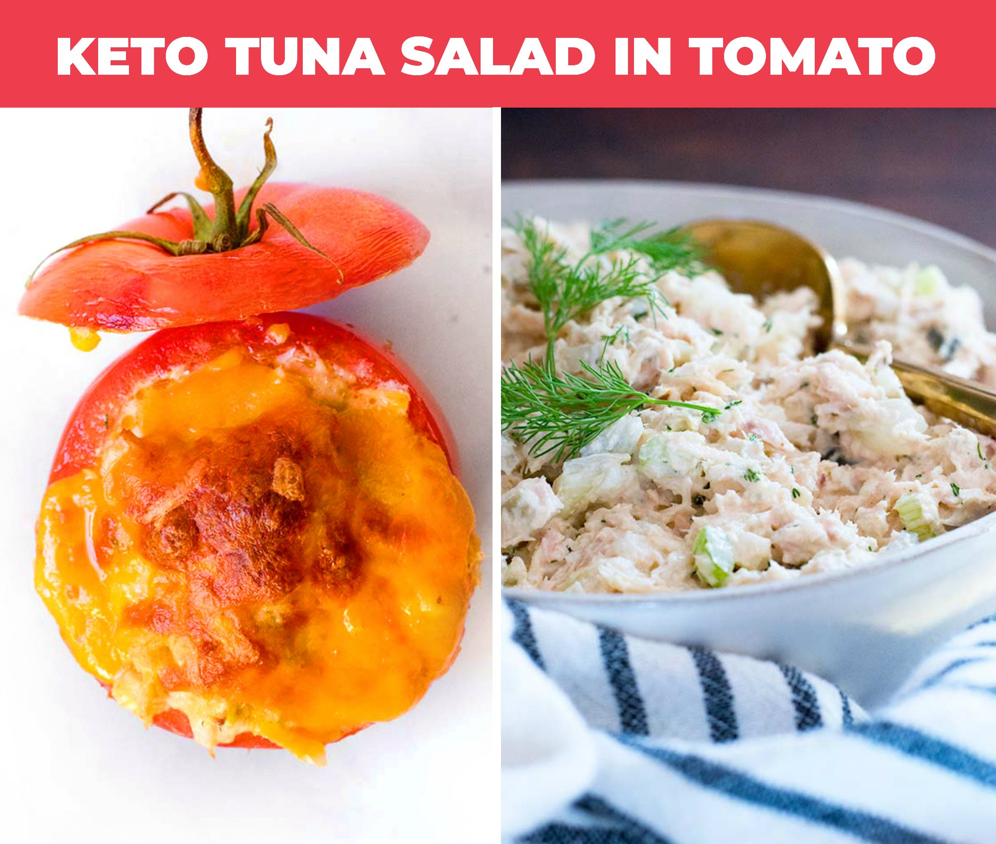 Image of keto tuna salad in tomato and in a white bowl